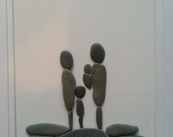 Pebble Art Family of 4 - Mom, Dad, Toddler, Infant, Unique Gift for Young Family, Present for Couple. Fathers, mothers, grandparents