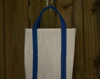 Red White and Blue Wine tote bag Made From Recycled Sails holds 2 bottles of wine