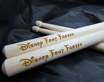 Disney Style Font Personalised Drumsticks (Sizes 5A, 5B or 7A Available)