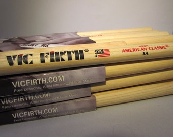 Vic Firth Drumsticks Pack of 12 - 5A NYLON TIP - Special Price - Personalised Engraving