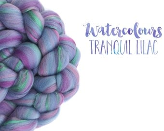 Blended top - roving - Merino wool - Mulberry silk - 100g - 3.5oz - Watercolour blends - TRANQUIL LILAC