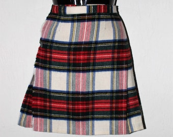 Vintage 1950's Tartan Plaid School Girl Pleated Mini Cashmere Skirt by Rally Klad XS in Excellent Condition