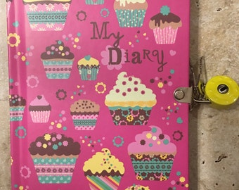Cupcake Locked Diary with Key