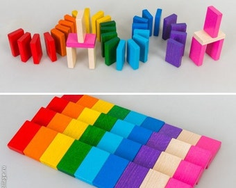 Wood Toy/Wood Game/Game- Natural Wooden/RAINBOW Wood Toy 9 colors/Wooden Sorting/Domino Toy/Ecofriendly