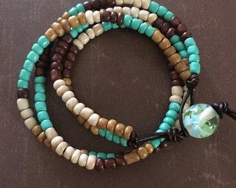 Boho Beaded Leather Bracelet