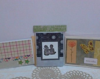 Set 3 Handmade Greeting Cards with Envelopes