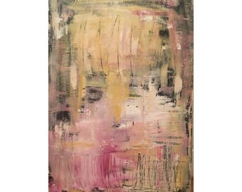 Abstract Painting / Original / 24x36/ Contemporary Art / Pink / Yellow / Black