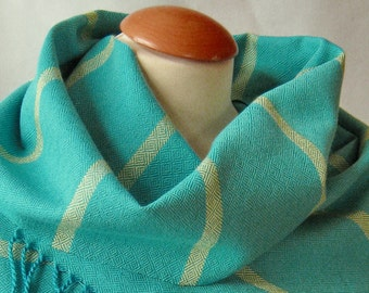 Scarf in fresh blue/turquoise with bright green stripes, handwoven unique