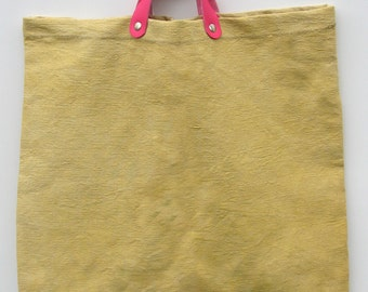 Pure linen mustard yellow vegetable dye and leather handle bag pink