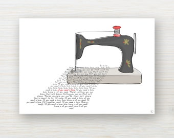"""Love song card """"All you need is love""""-  customizable"""