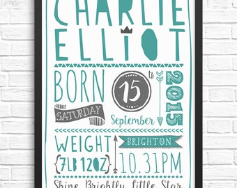 Customisable Personalised New Baby/Announcement/Christening/Keepsake/Nursery Print/Wall Art