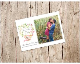 Cherry Blossom Heart Wreath Save the Date, DIY/Printable