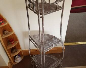 Shabby/Chic metal foldable corner shelf unit