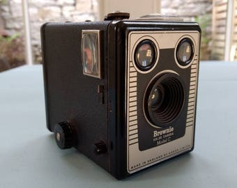 Collectable Kodak Brownie Six-20 Camera Model C with Canvas and Leather Case c1953-1957