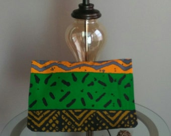 African Print Large Fold Over Clutch Purse