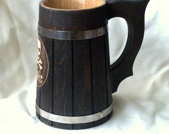 Wooden Beer mug 0,7 l (23oz) Pirate mug Groomsmen gift Groom gifts Best man Wedding party gifts Wooden beer stein Beer tankard