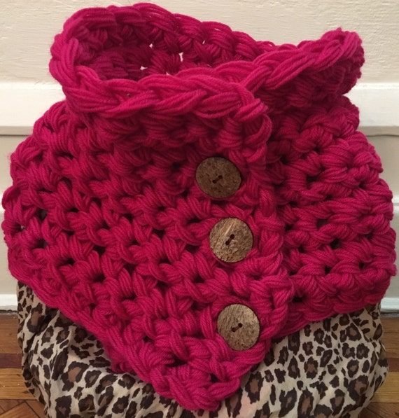 Ready to ship-Berry Berry,  chunky and warm oversized adjustable buttoned cowl.