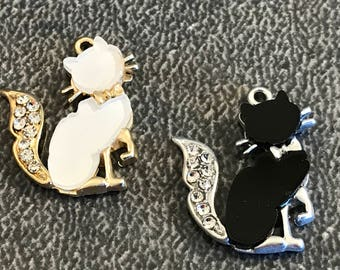 3 beautiful enamel and rhinestone cat charms - pendant - silver tone and black or gold tone and white - perfect for jewelry making - pet