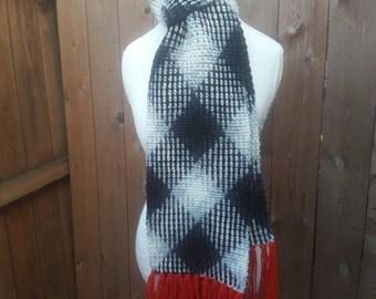 Crochet Argyle Scarf, black/white/red