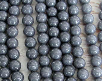 6mm Gray Jade, Malay jade, Gray beads, full strand, 8mm jade beads, gray gemstone, mashan jade, candy jade, Gray gemstone beads, mala beads