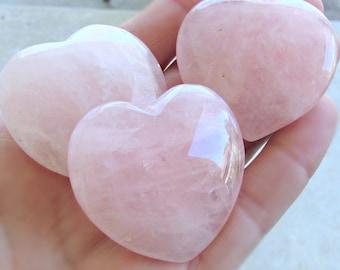 Rose quartz Hearts, 40mm, large heart stones, Cabochon Hearts, heart pendants, pink heart, gemstone heart, large heart, cabochon, no hole