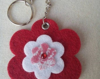 Red felt flower shaped Keyring glitter