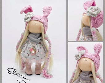 """personalized Interior textile doll """"Pink Bunny Vintage"""" handmade toy buy gift"""