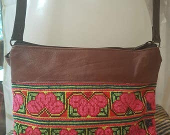 Ethnic bag with embroidered flower, bag boho tribal