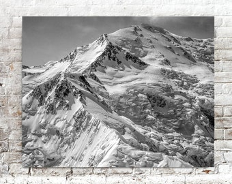 Mount McKinley Photo, Nature Photography, Alaska, Black White Photography, American Northwest Photographs, Glaciers
