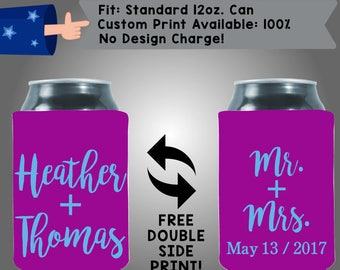 Heather And Thomas Mr + Mrs Date Collapsible Neoprene Wedding Custom Can Cooler Double Side Print (W272)