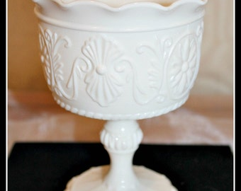 Vintage White Milk Glass Daisy Flower Scroll Pattern Compote, Milk Glass Compote, Ruffled Pedestal Compote, Milk Glass Compote