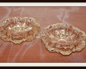 Set of 2 Vintage Ashtrays, Molded Tinted Glass Ashtray Set, Tobacciana, Home Decor, Decorative Accent, Home Accessories