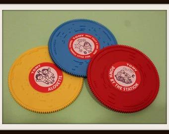 Vintage Set of 3 Tomy Tuneyville Choo Choo Train Record Discs, Preschool Tomy Plastic Records