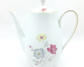 Large vintage Rheinpfalz, Germany tea pot flowers white with pink. Vintage big teapot white and flowers.