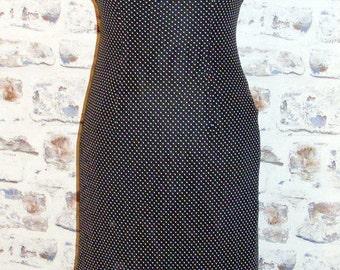 Size 10 vintage 90s asymmetric hem party midi dress black floaty polkadot (HC68)