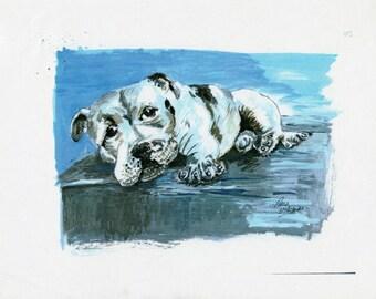 Blue dog Portrait, Bull Terrier Portrait, Bull Terrier gift, Dog lover's gift, Bull Terrier wall decor, Bull Terrier Print
