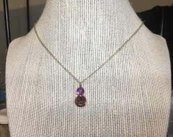 """Copper Songbird charm with Amethyst bead on 16"""" sterling silver chain."""