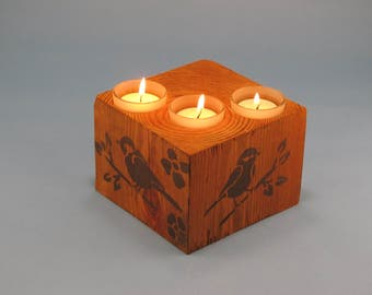 Wood 3 Tea Light Square Bird on a Twig Candle Holder - Natural