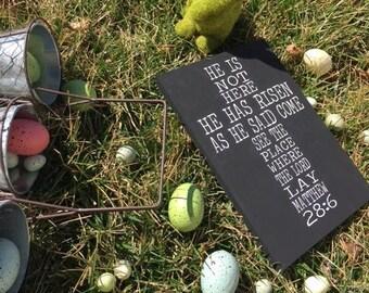 Matthew 28:6 Bible Verse, He Has Risen, Easter Sign 11.5''X 8.5'', Jesus Sign, Cross Sign, Biblical Sign
