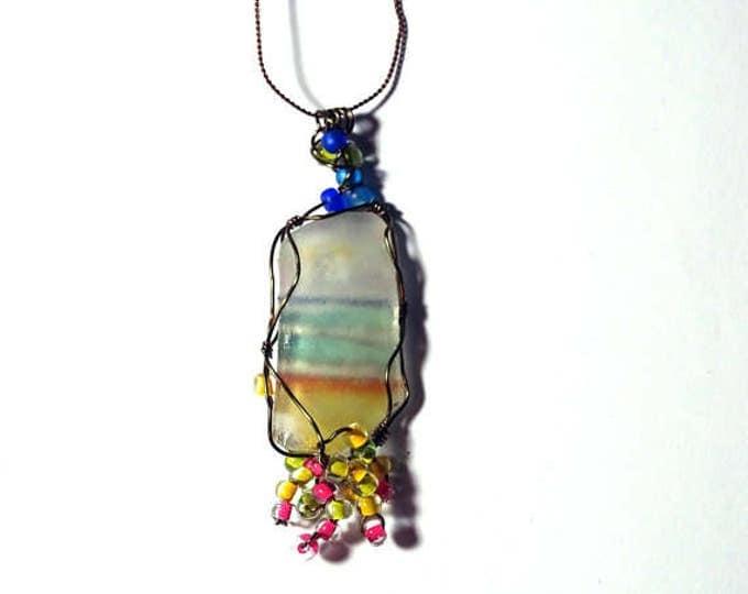 Beach jewelry women - Beaded -Gift for Wife - Boho - Wire Wrap Beach Scene Beach Glass -Lake Michigan - Beach