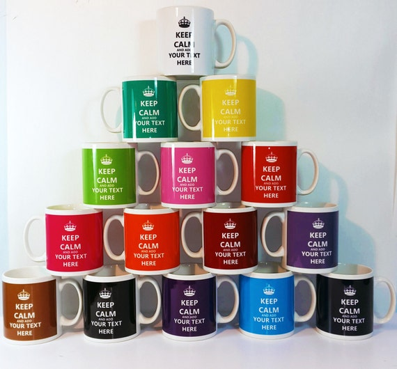 Personalised Keep Calm and Carry On Mug Present Different Colours Available