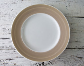 White Ceramic Plate with Beige Rim-Food Photography Props