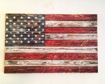 Rustic Reclaimed wood American flag