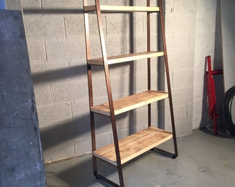 Antique Copper Reclaimed Timber Shelving Unit/Bookcase