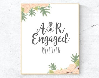 Personalised engagement print, Gift for engaged couple, Engagement print with flowers