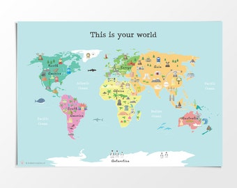 Childrens Map Etsy - World map to print a4