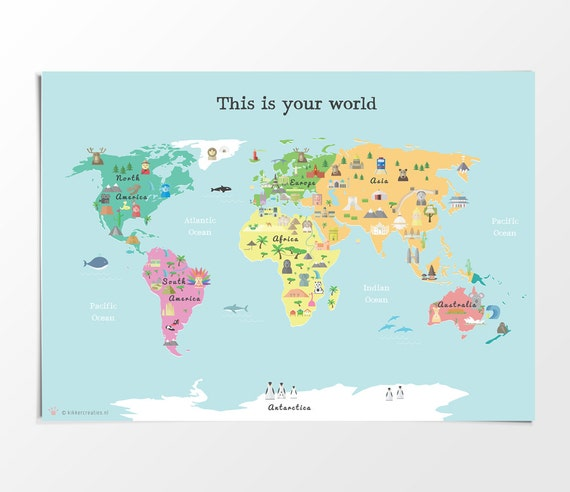 Printable kids world map poster a3 11x14 in 24x36 in printable kids world map poster a3 11x14 in 24x36 in nursery poster educational print gumiabroncs Image collections
