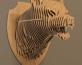 Wolf head 3D model,animals ,CNC ,decoration,decorative ,art ,head ,interior,souvenir ,trophy ,wall ,wood, wooden vector graphic,laser,dxf