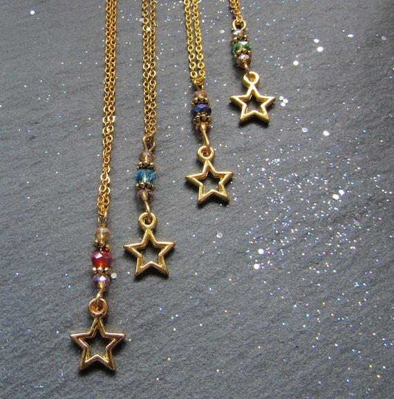 You are a star! gold plated star necklace and Crystals, Your choice of colour, Star Necklace, Charm necklace, Boho Charm necklace
