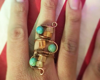 Triple Decker Copper Wire Wrapped Ring w/ Orange Calcite and Chrysocolla Beads